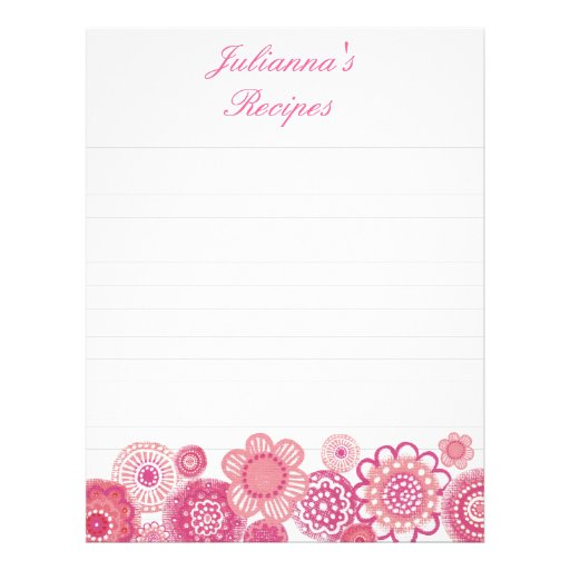 Pretty in Pink Recipe Binder Insert Letter Pages Letterhead