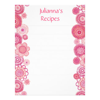 Pretty in Pink Recipe Binder Insert Letter Pages Customized Letterhead