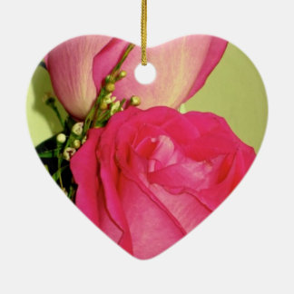 Pretty In Pink Roses Panel 1 Double-Sided Heart Ceramic Christmas Ornament