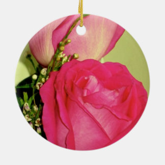 Pretty In Pink Roses Panel 1 Double-Sided Ceramic Round Christmas Ornament