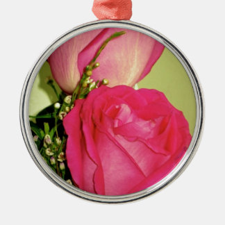 Pretty In Pink Roses Panel 1 Round Metal Christmas Ornament