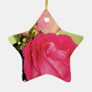 Pretty In Pink Roses Panel 1 Double-Sided Star Ceramic Christmas Ornament