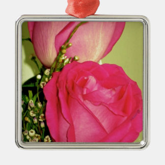 Pretty In Pink Roses Panel 1 Square Metal Christmas Ornament