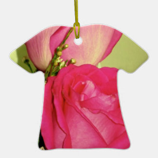 Pretty In Pink Roses Panel 1 Double-Sided T-Shirt Ceramic Christmas Ornament