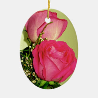 Pretty In Pink Roses Panel 1 Double-Sided Oval Ceramic Christmas Ornament