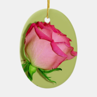 Pretty-In-Pink-Roses-Panel-3.jpg Double-Sided Oval Ceramic Christmas Ornament
