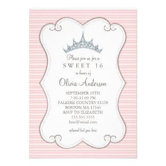Pretty in Pink Sweet 16 Birthday Tiara Invitation