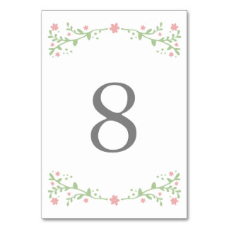 Pretty in Pink Table Number Cards