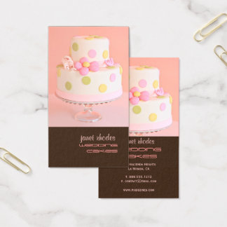 Pretty in Pink wedding cake Business Card
