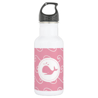 Pretty in Pink Whales Tale and Waves Water Bottle