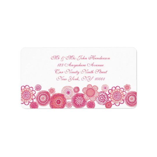 Pretty in Pink & White Floral Address Sticker