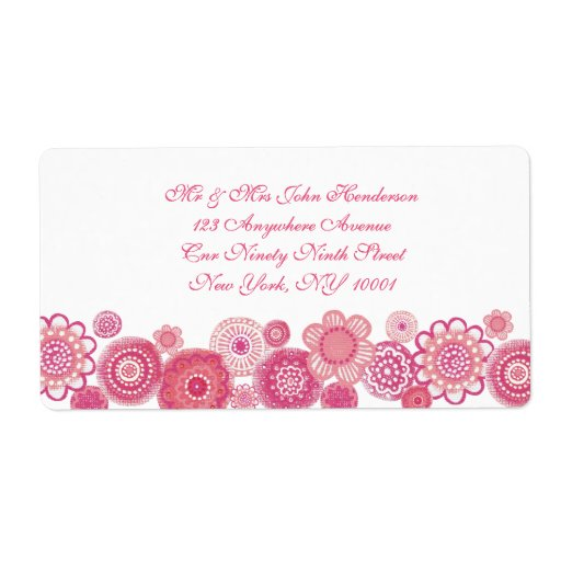 Pretty in Pink & White Floral Address Sticker Custom Shipping Labels