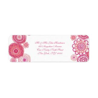 Pretty in Pink  White Floral Small Address Sticker Label