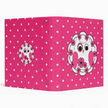 Pretty in Pink White Owl 3 Ring Binder