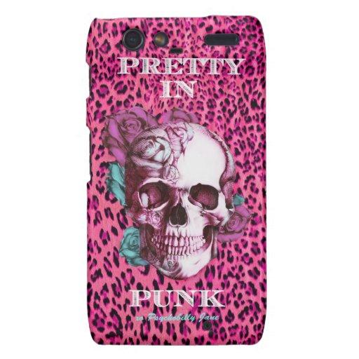 Pretty in Punk, shocking pink leopard & rose skull Droid RAZR Cover