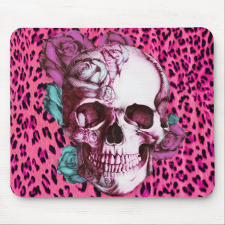 Pretty in Punk, shocking pink leopard & rose skull Mouse Pad