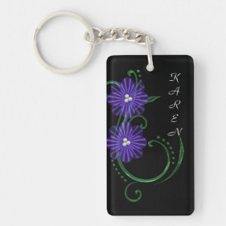 Pretty in Purple Rosettes with text Keychain