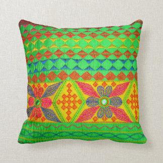 Pretty Indian Kutch Work Throw Pillows (Green) Throw Pillows