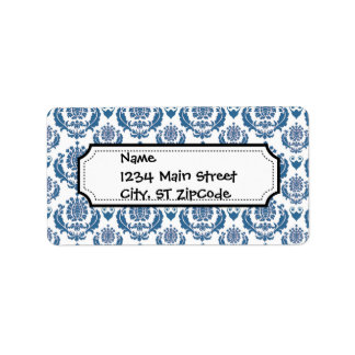 Pretty Indigo Blue Damask Pattern Label