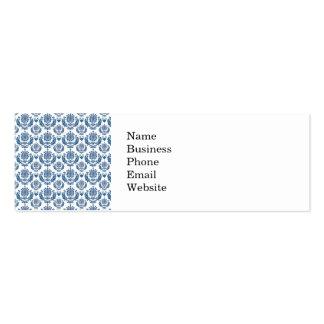 Pretty Indigo Blue Damask Pattern Mini Business Card