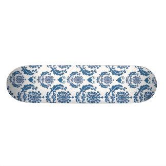 Pretty Indigo Blue Damask Pattern Skateboard Decks