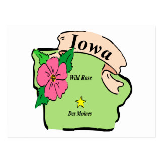 Pretty Iowa Map Postcard