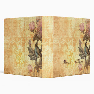 Pretty Iranian Bird Damask Floral Personalized Vinyl Binders