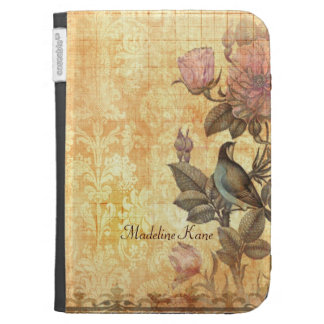 Pretty Iranian Bird Damask Floral Personalized Kindle Cover