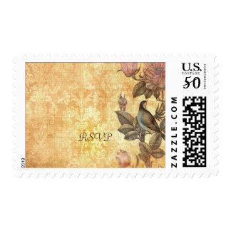 Pretty Iranian Bird Damask Floral Personalized Postage