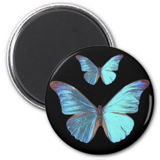Pretty Iridescent Blue Butterfly 2 Inch Round Magnet