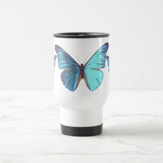 Pretty Iridescent Blue Butterfly Travel Mug