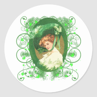 Pretty Irish Woman Vintage Design Classic Round Sticker