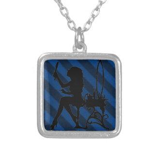 Pretty is Vintage Sapphire Blue Grunge Primitive Personalized Necklace