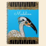 Pretty Island Bird Monogram Notebook