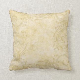 Pretty Ivory Damask Pattern Throw Pillows