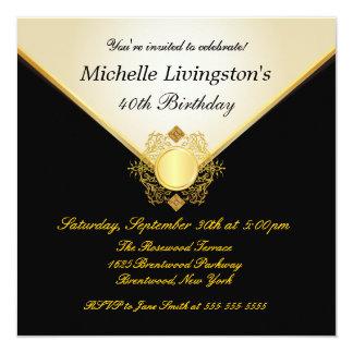 Pretty Ivory Gold Black Womens BirthdayInvitations Card