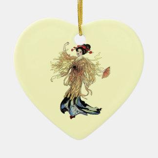 Pretty Japanese Geisha Flower Fairy Vintage art Double-Sided Heart Ceramic Christmas Ornament