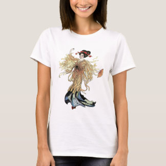 Pretty Japanese Geisha Flower Fairy Vintage art T-Shirt