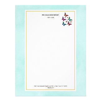 Pretty Jewel Colored Butterflies on Mint Green Letterhead