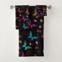 Pretty Jewel Tone Butterflies on Black Bath Towel Set