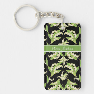 Pretty Keychain: Lilies of the Valley, Black Keychain