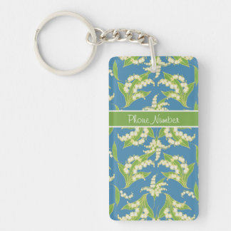 Pretty Keychain: Lilies of the Valley, Blue Keychain