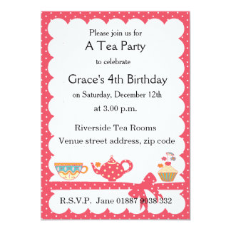 kids tea party invitations  announcements  zazzle, Party invitations
