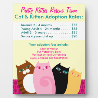 Pretty Kitties Cat & Kitten Adoption Fees Signage Plaques