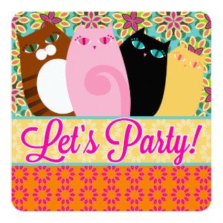 Pretty Kitties - Fun Floral Party Invitations