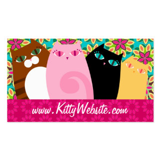 Pretty Kitties on Floral Business Card