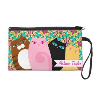 Pretty Kitties on Floral - Custom Mini Bag Wristlet Purse