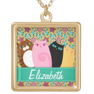 Pretty Kitties on Floral - Custom Pendant Necklace