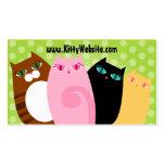 Pretty Kitties on Green Business Card Templates