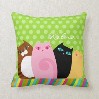 Pretty Kitties on Green - Custom Throw Pillow